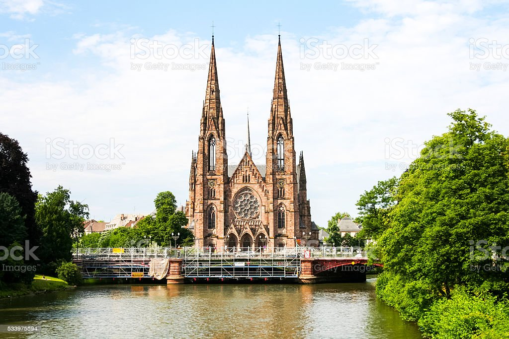 strasbourg chathedral churc over the river stock photo