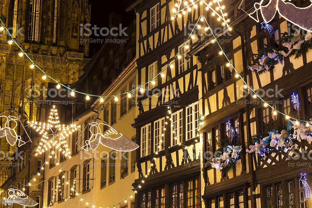 Strasbourg Christmas lights stock photo
