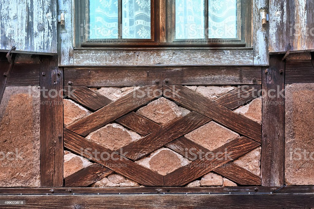 Strasbourg: Detail of a half-timbered house in the quarter La-Petite-France stock photo