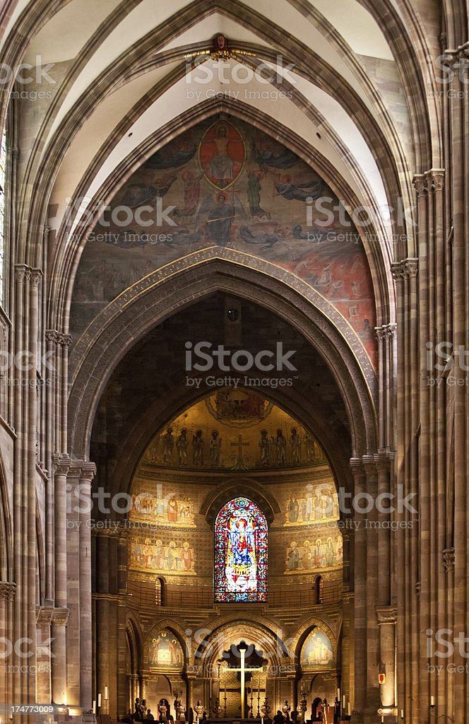 Strasbourg, France Cathedral interior stock photo