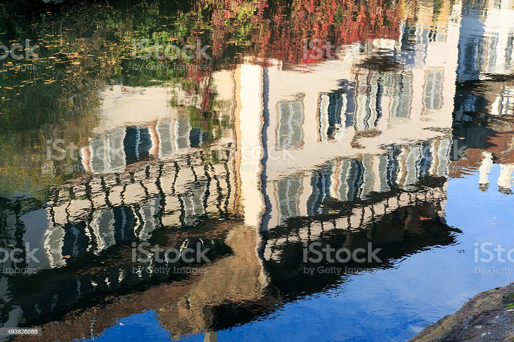 Strasbourg: La-Petite-France: Reflections of ancient houses in the river Ill stock photo