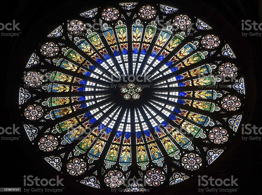 Strasbourg (Alsace, France) - The gothic cathedral, rose window stock photo
