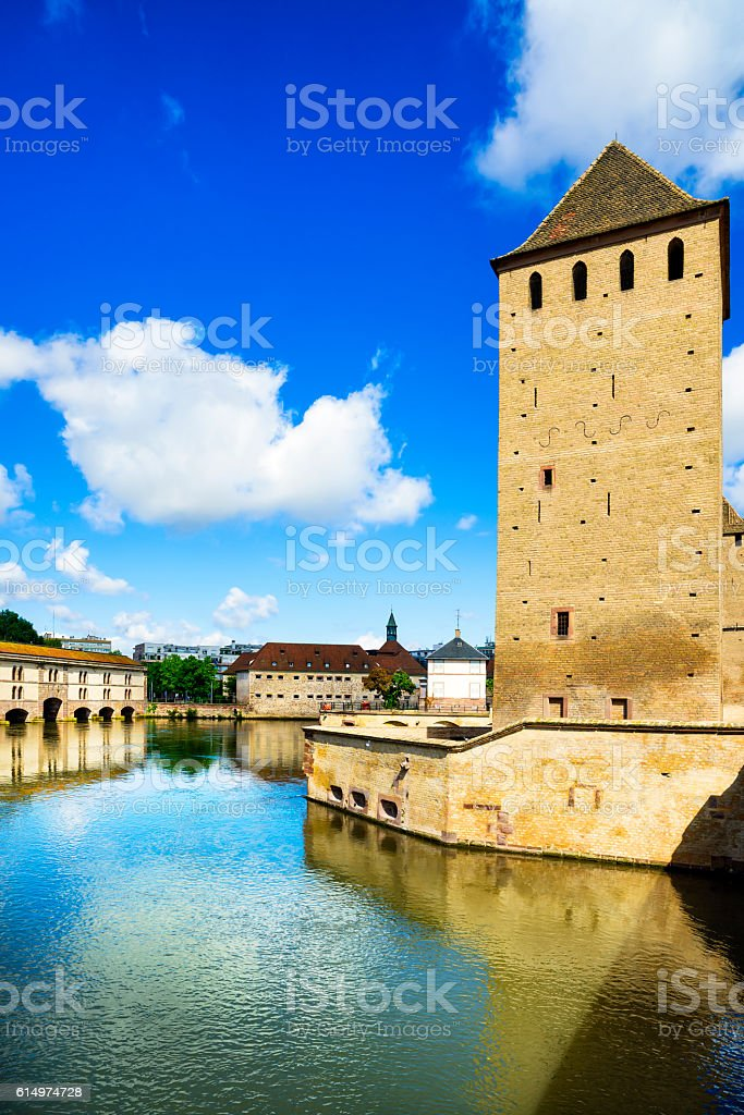 Strasbourg, tower of medieval bridge Ponts Couverts. Alsace, Fra stock photo