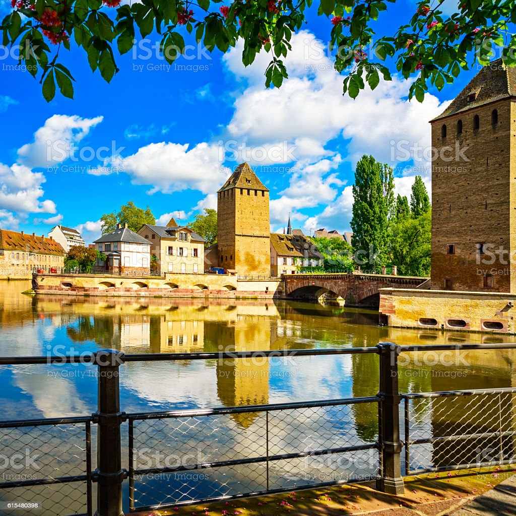 Strasbourg, towers of medieval bridge Ponts Couverts. Alsace, Fr stock photo