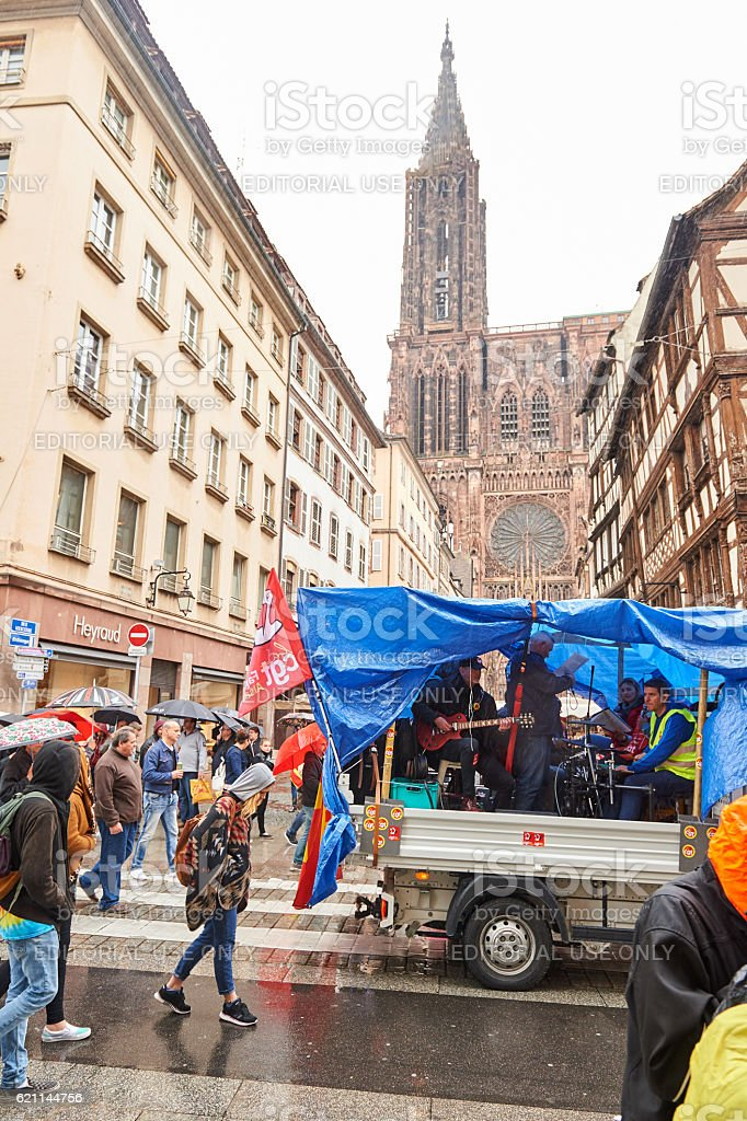 Strasbourg transportation paralyzed during protest stock photo