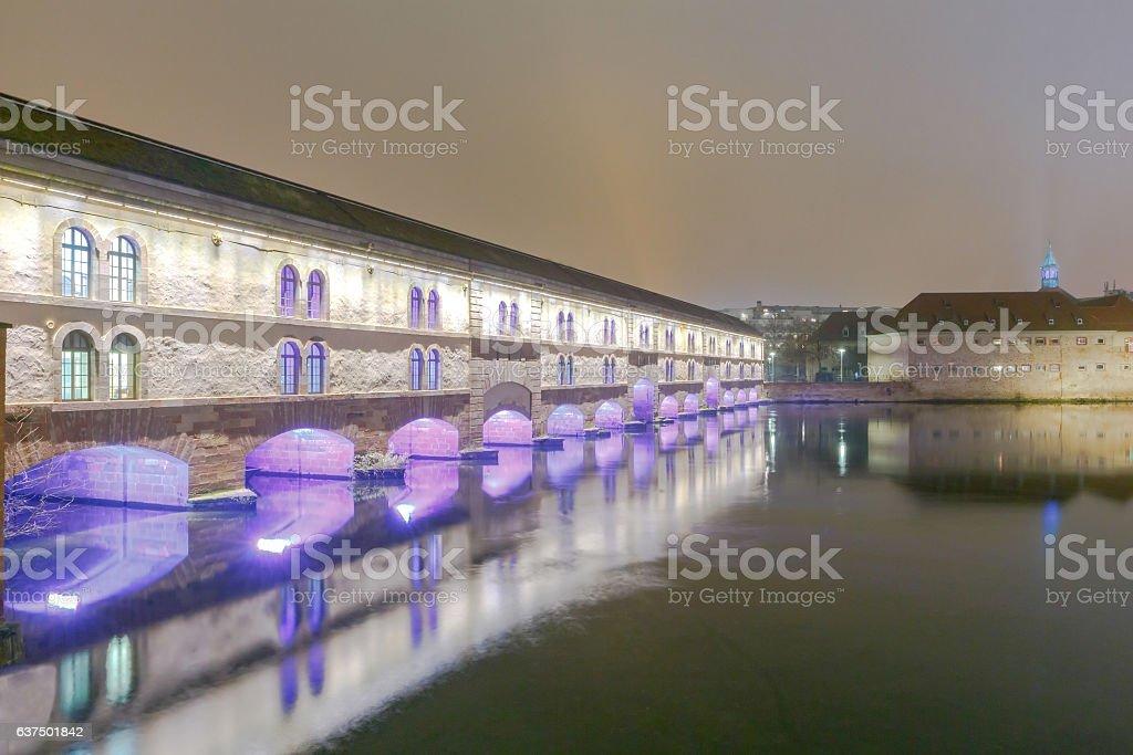 Strasbourg. Vauban Dam at night. stock photo