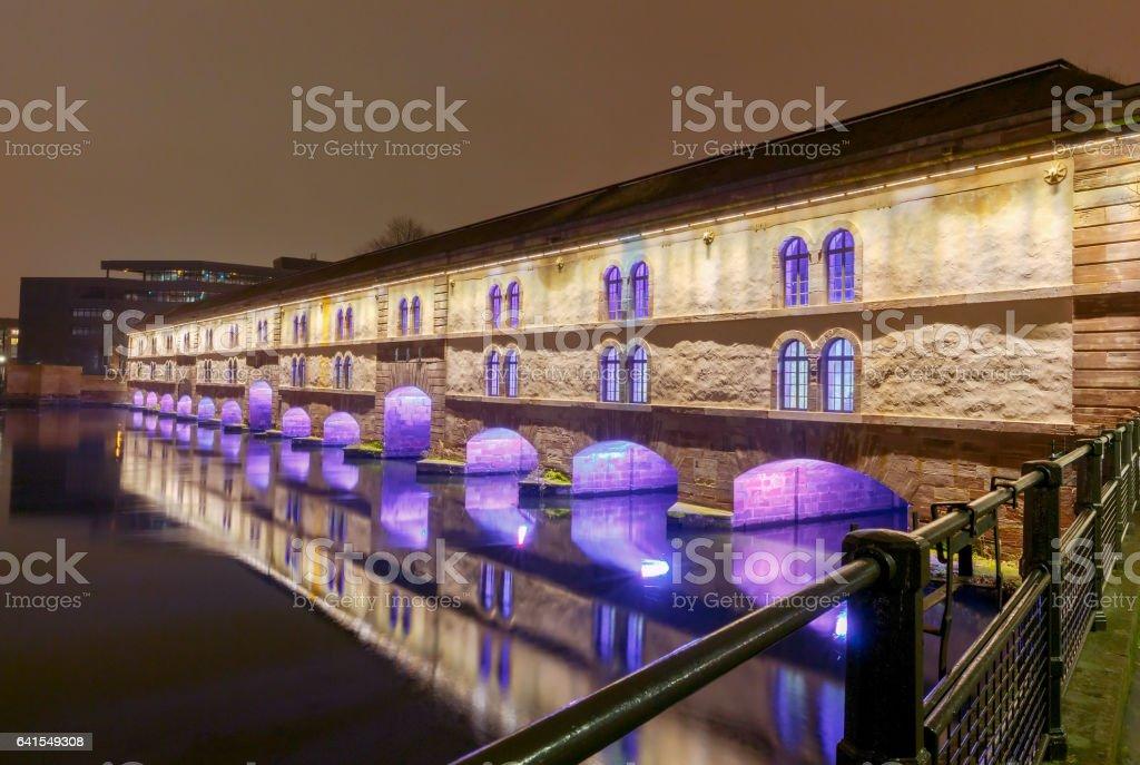 Strasbourg. Vauban Dam at night stock photo