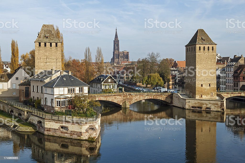 Strasbourg: View from Barrage Vauban onto the Ponts Couverts stock photo