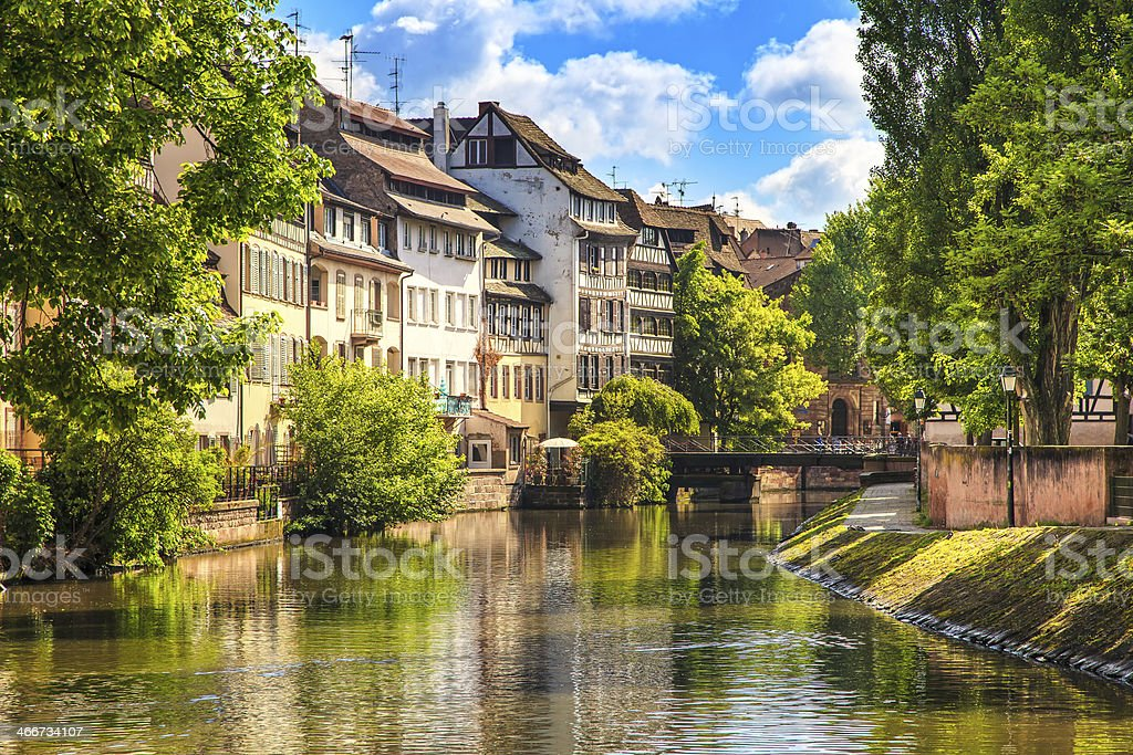 Strasbourg, water canal in Petite France area, Unesco site. Alsace. stock photo