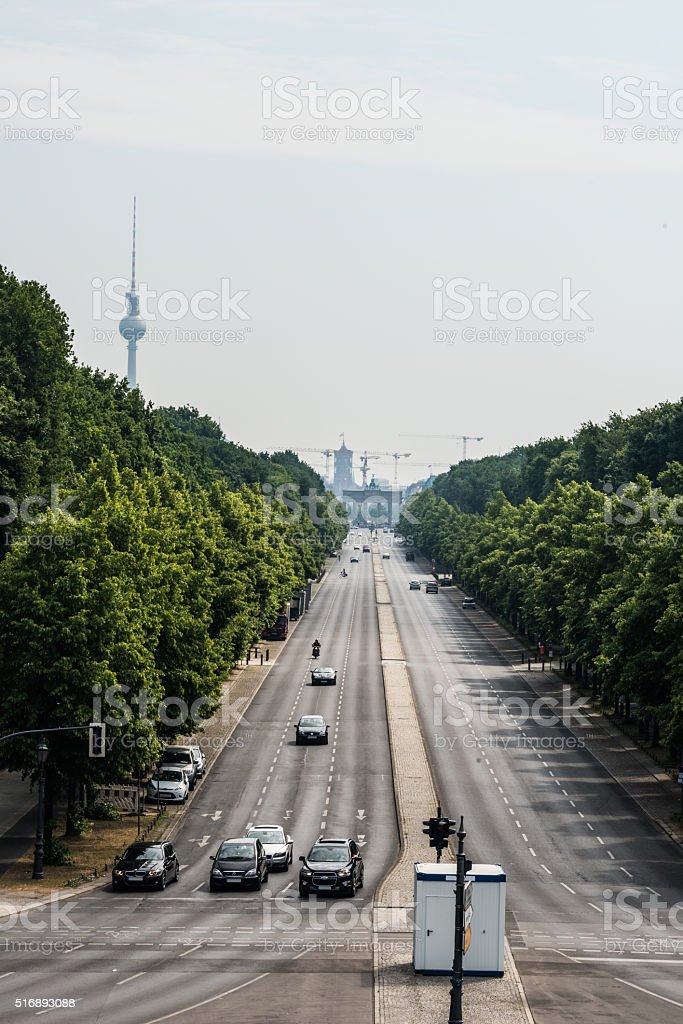 Strasse des 17. Juni in Berlin -view to Brandenburg Gate stock photo