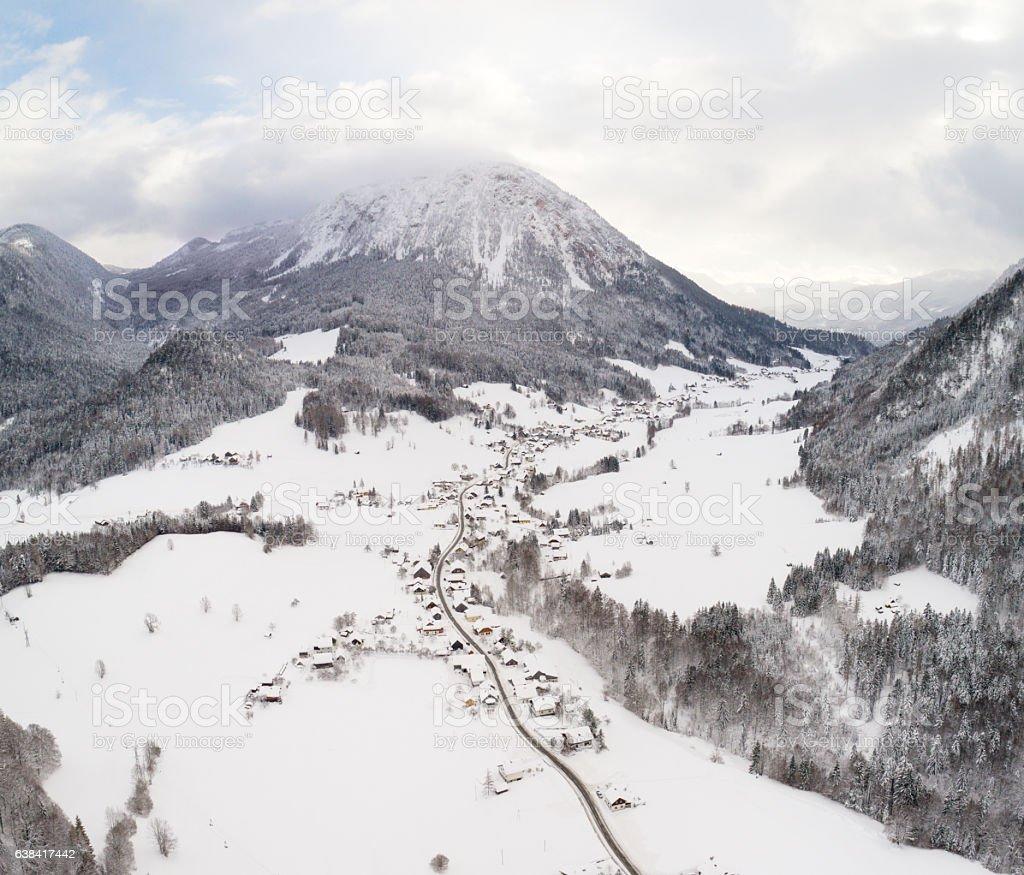 Strassen, Bad Aussee, Winter Village covered in Snow stock photo