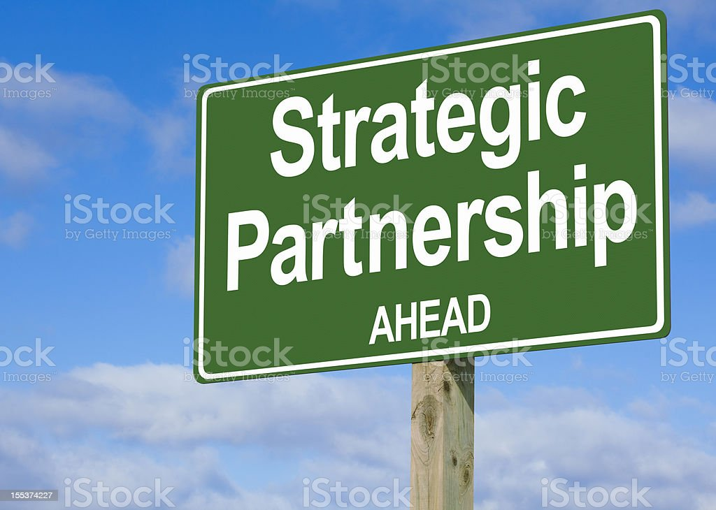 Strategic Partnership Ahead Highway Sign royalty-free stock photo