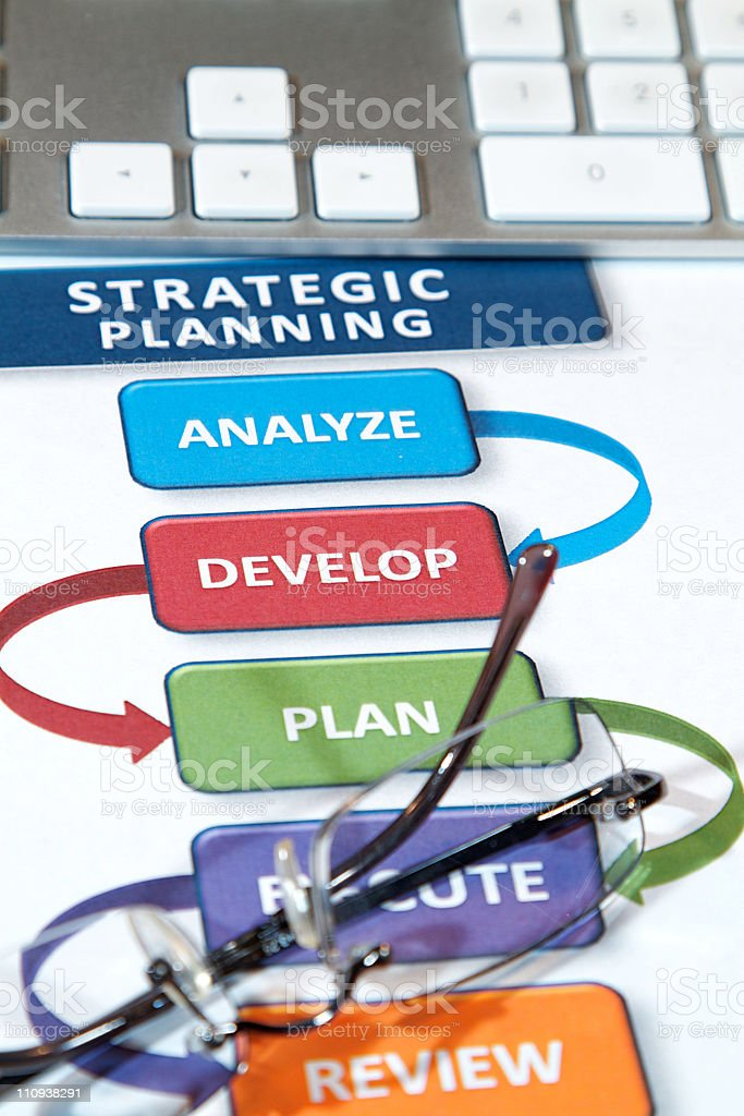 Strategic planning and keyboard royalty-free stock photo