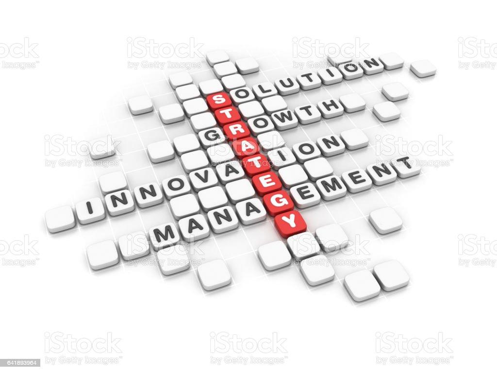 Strategy Concept Crossword - 3D Rendering stock photo