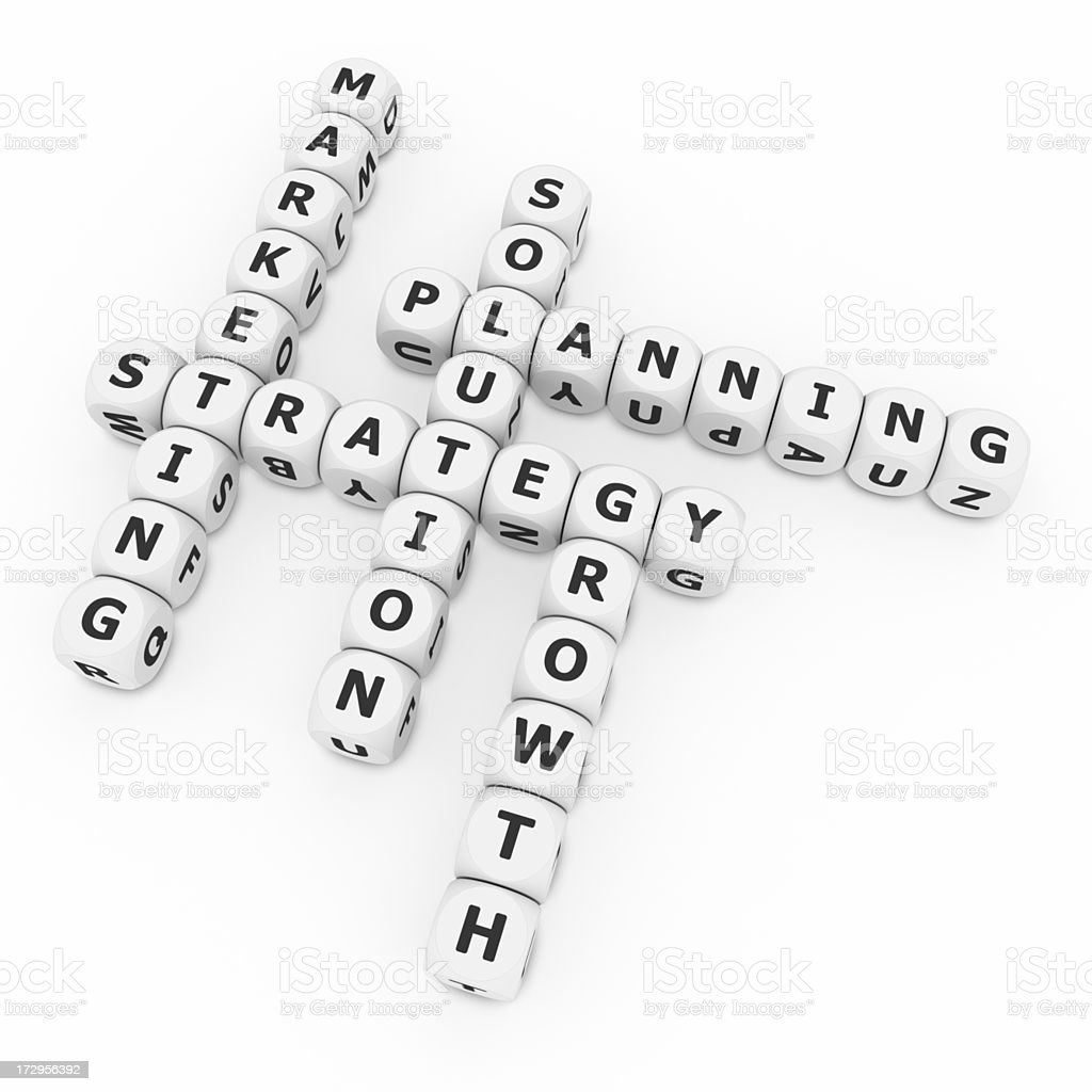 strategy crosswords on dices royalty-free stock photo