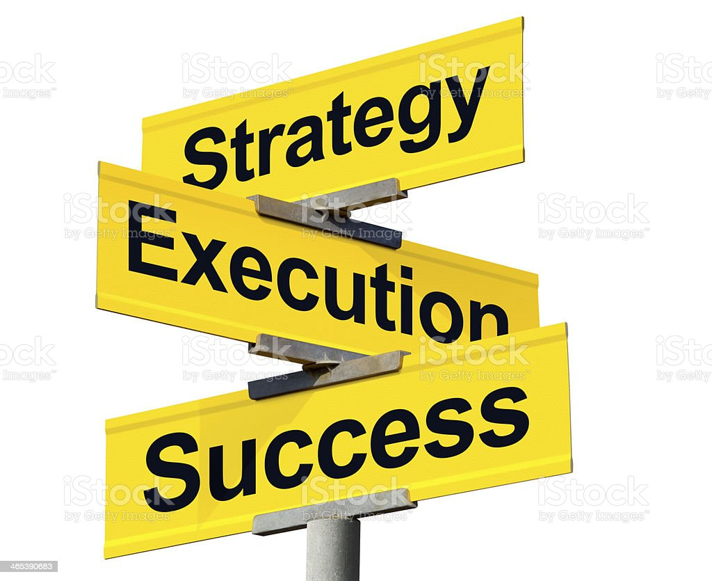 Strategy, Execution, and Success Intersection Sign on White Background stock photo
