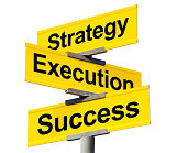 Strategy, Execution, and Success Intersection Sign on White Background
