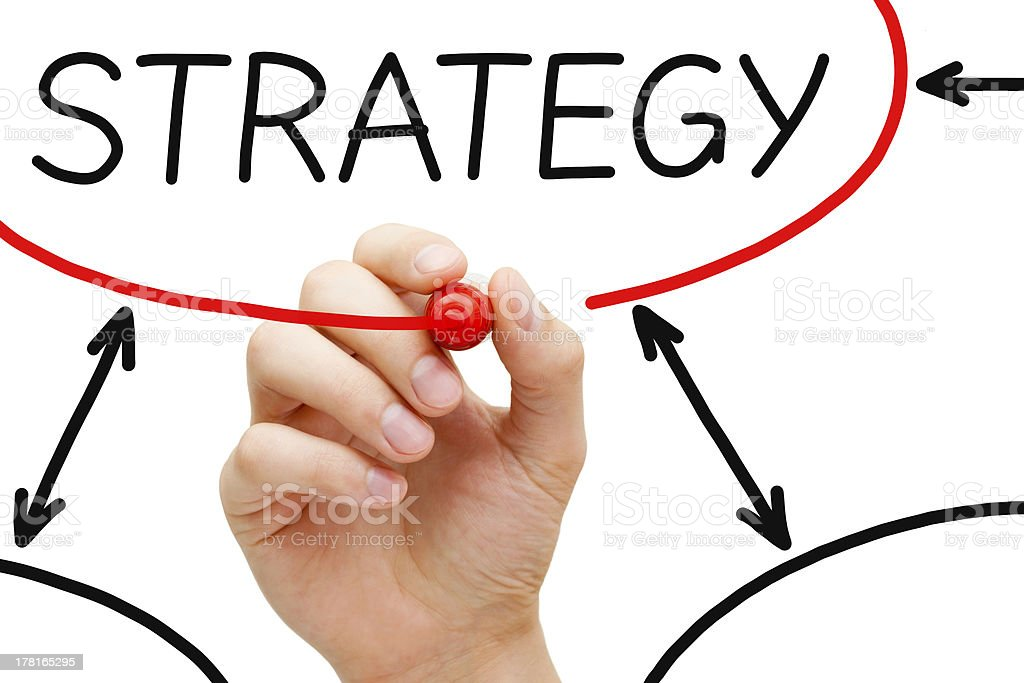 Strategy Flow Chart Red Marker royalty-free stock photo