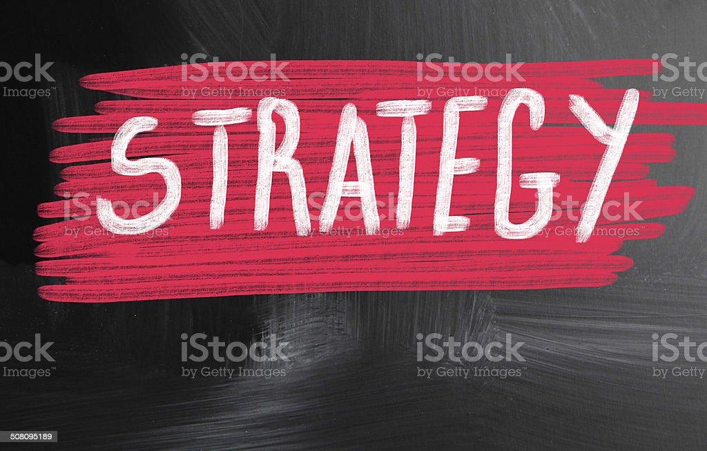 strategy handwritten with chalk on a blackboard stock photo