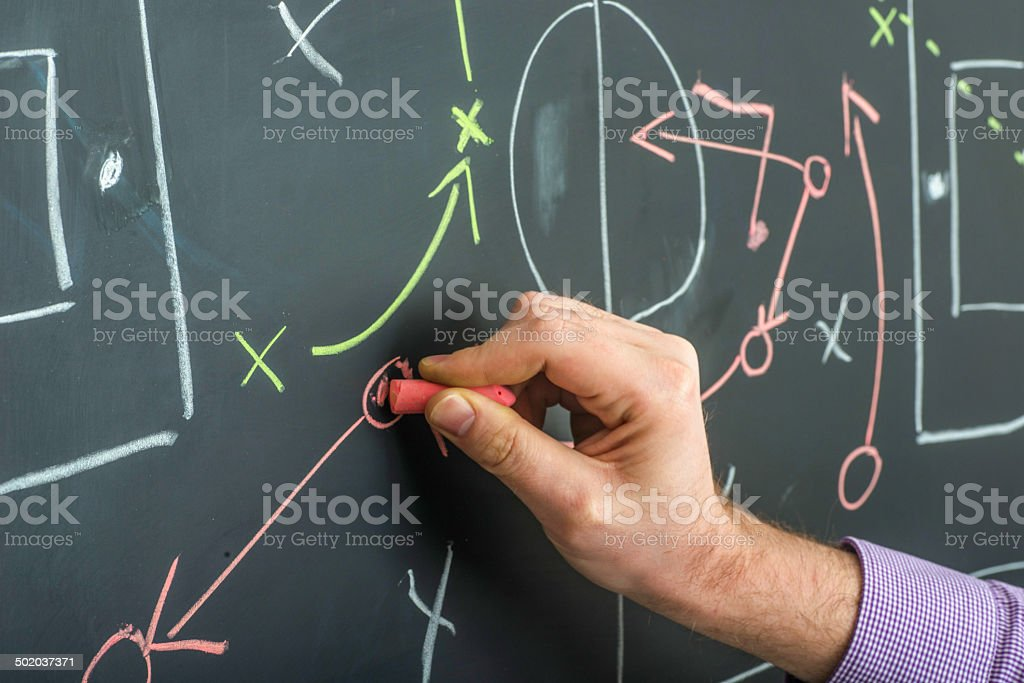 strategy on blackboard with hand stock photo