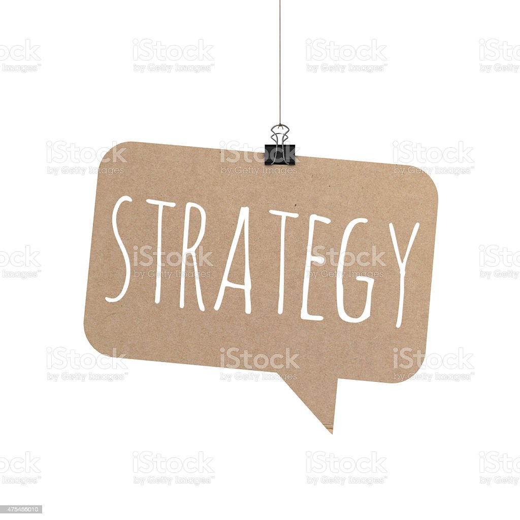 Strategy speech bubble hanging on a string stock photo