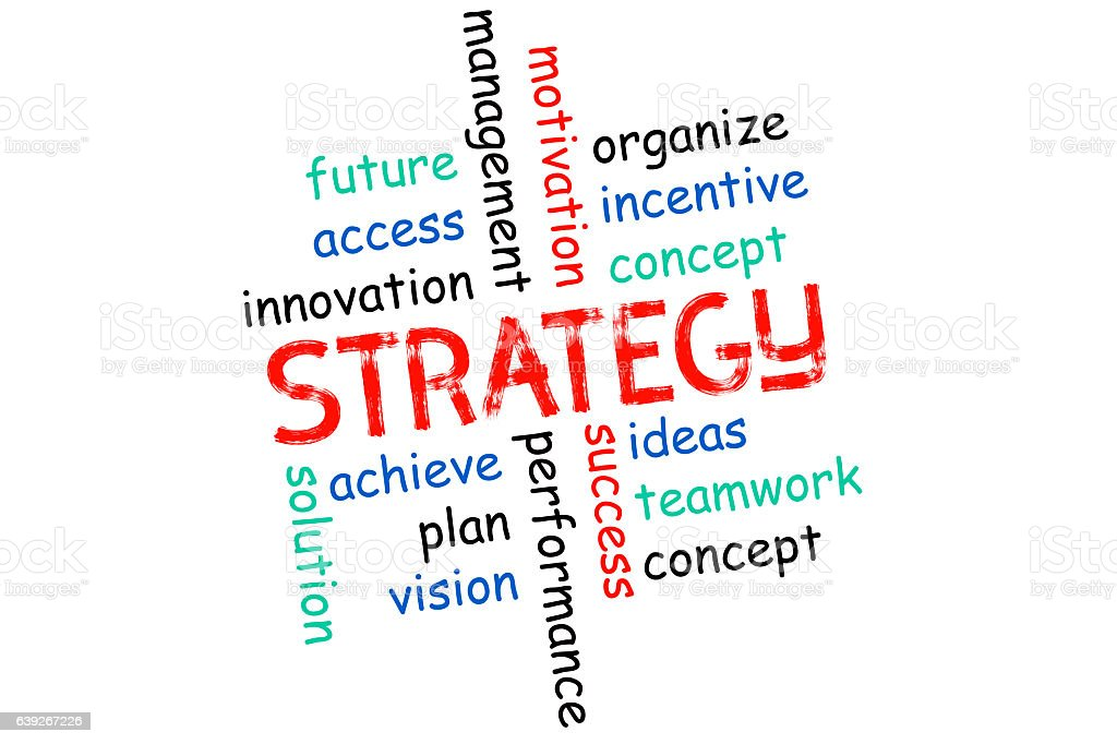 Strategy - the concept, the inscription on the white stock photo