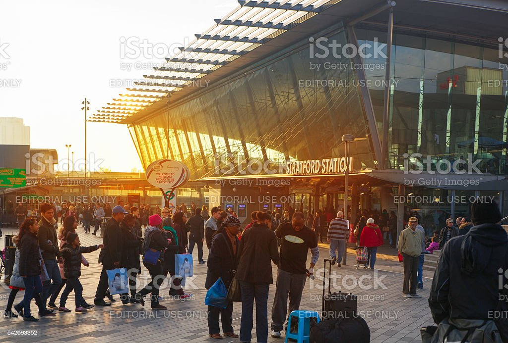 Stratford international train station entrance and lots of people, London stock photo