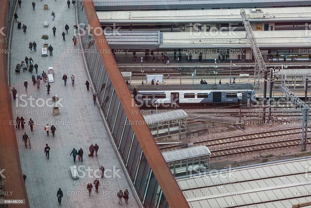 Stratford Railway Station London from above stock photo