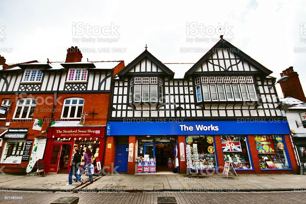Stratford, UK - March 25, 2013 - Townscape of Stratford upon Avon stock photo