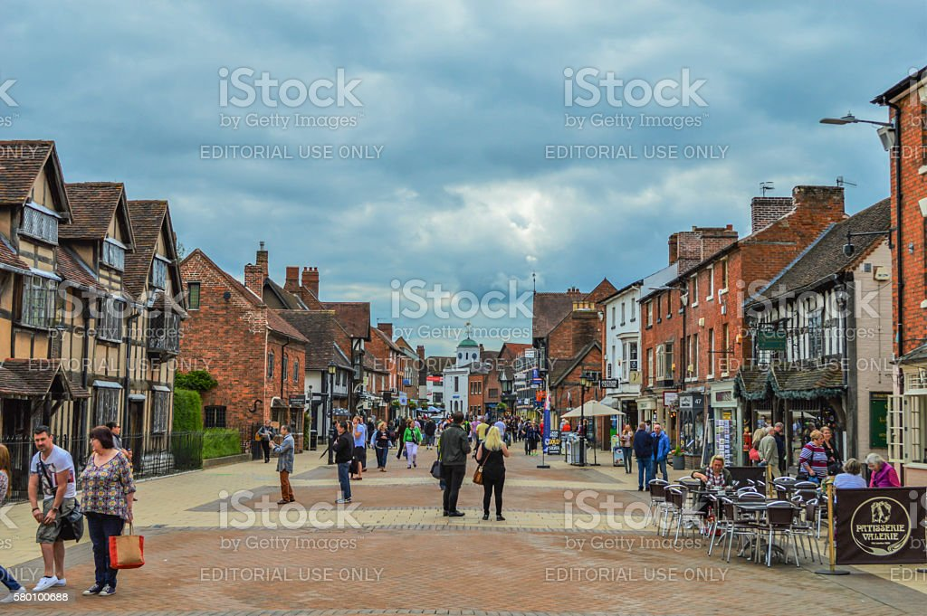 Stratford-upon-Avon English City Landscape and Skyline, Overcast sky and Tourists stock photo