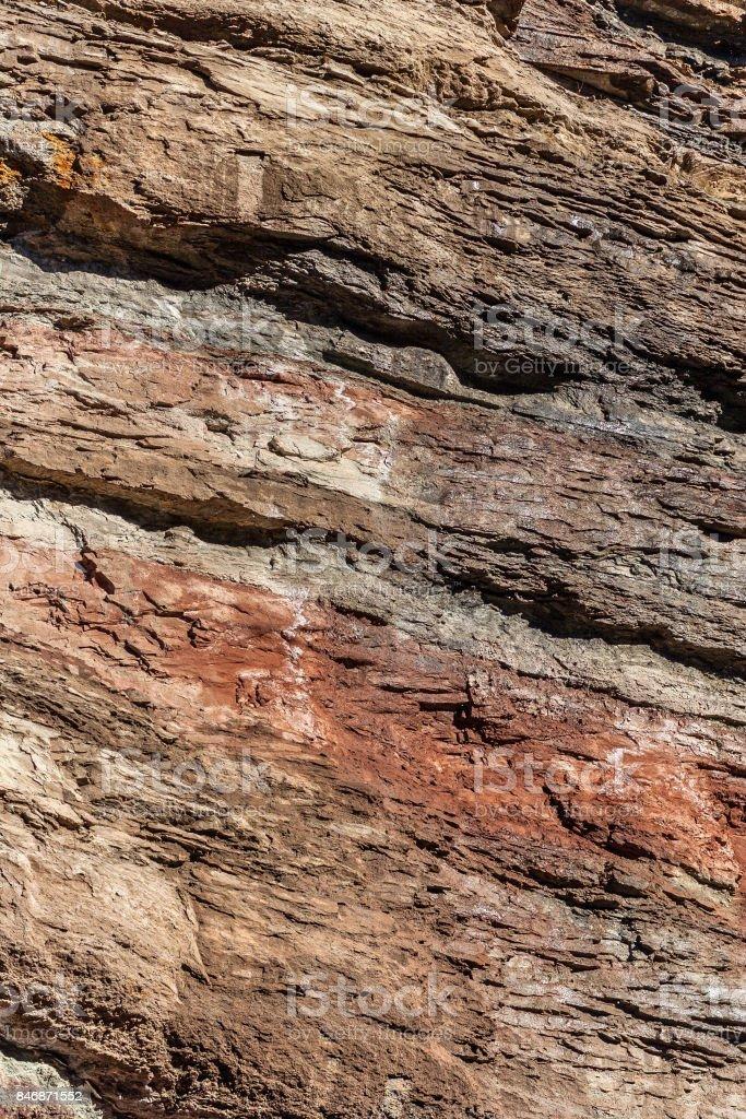 stratified sedimentary rocks stock photo