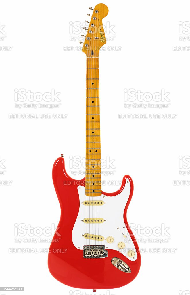 Stratocaster from Classic Vibe series in Fender's vintage Fiesta Red stock photo