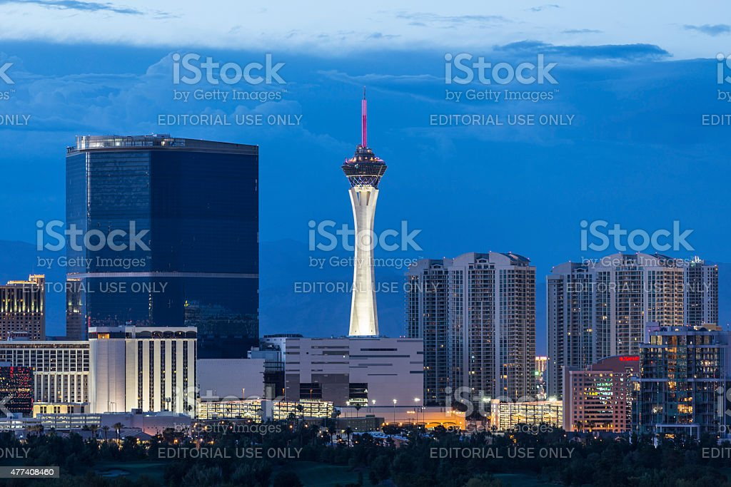 Stratosphere Tower Dusk Las Vegas stock photo