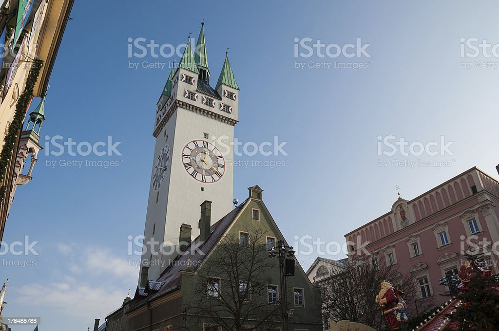 Straubing city center in winter - Bavaria, Germany stock photo