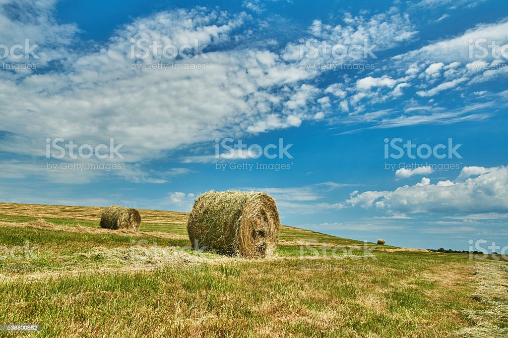 Straw and blue sky stock photo