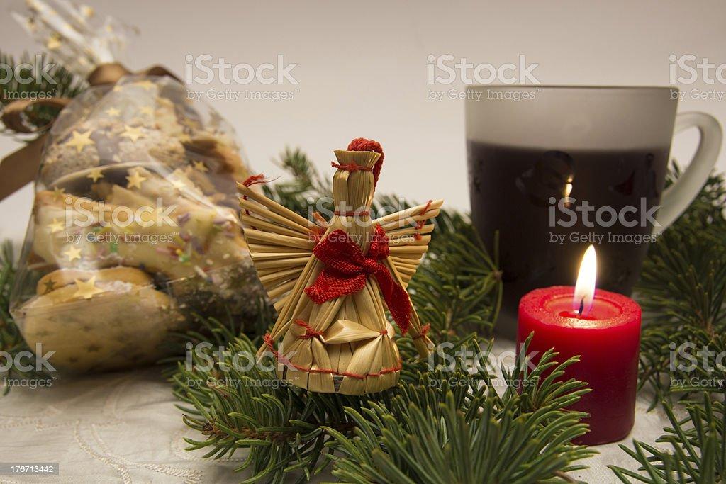 Straw angel stock photo