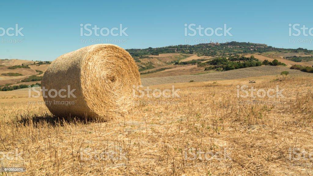 Straw bales in tuscany volterra italy stock photo