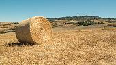 Straw bales in tuscany volterra italy