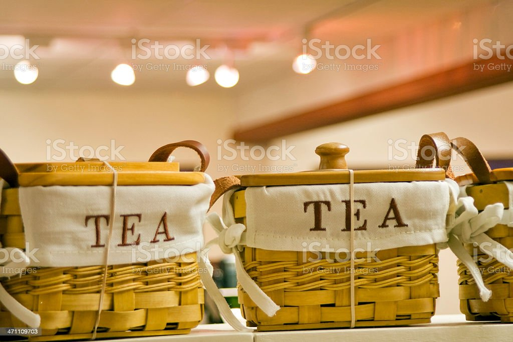 Straw baskets for tea in the gift shop royalty-free stock photo
