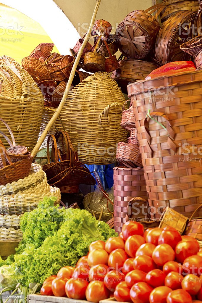 Straw baskets royalty-free stock photo