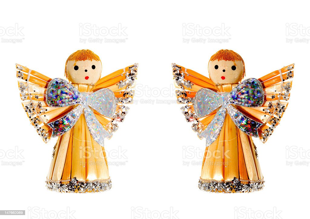 Straw Christmas Angels royalty-free stock photo