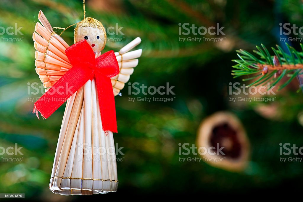 straw christmas decoration royalty-free stock photo