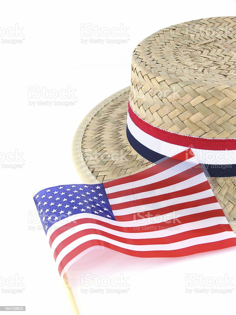 Straw Election Hat and American Flag royalty-free stock photo