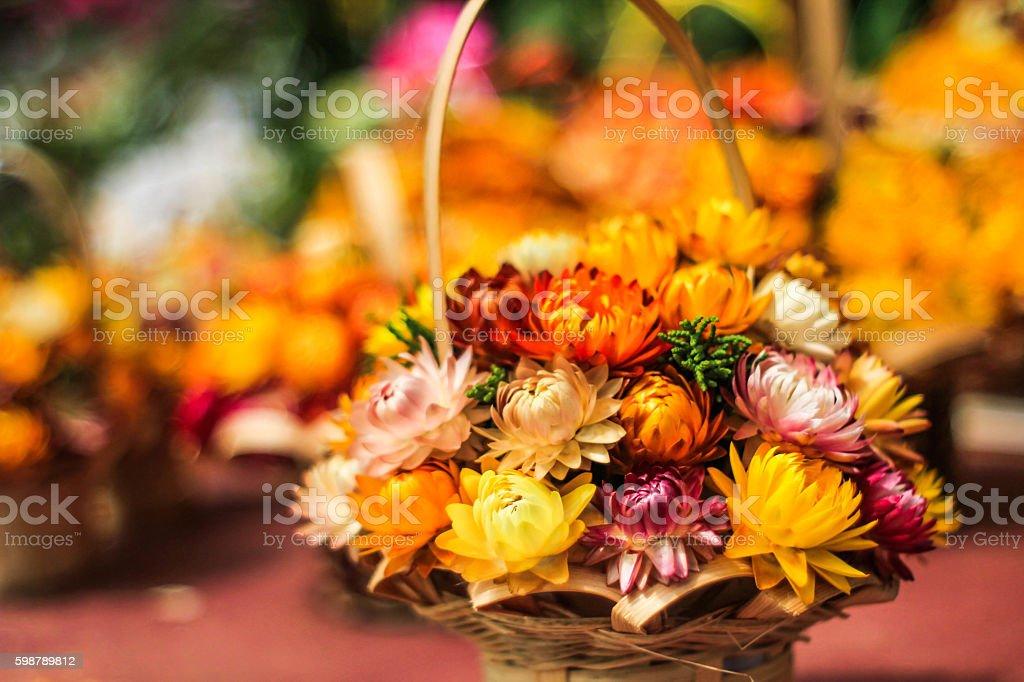 Straw flower basket royalty-free stock photo