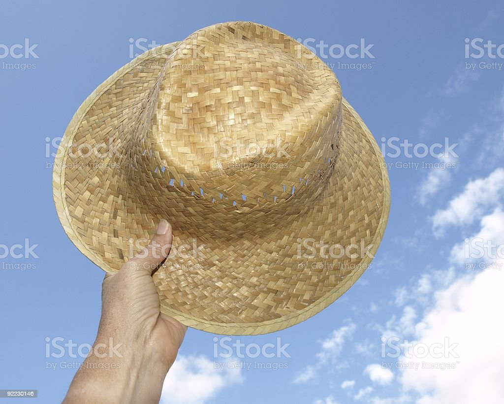 Straw hat - hooray for summer stock photo