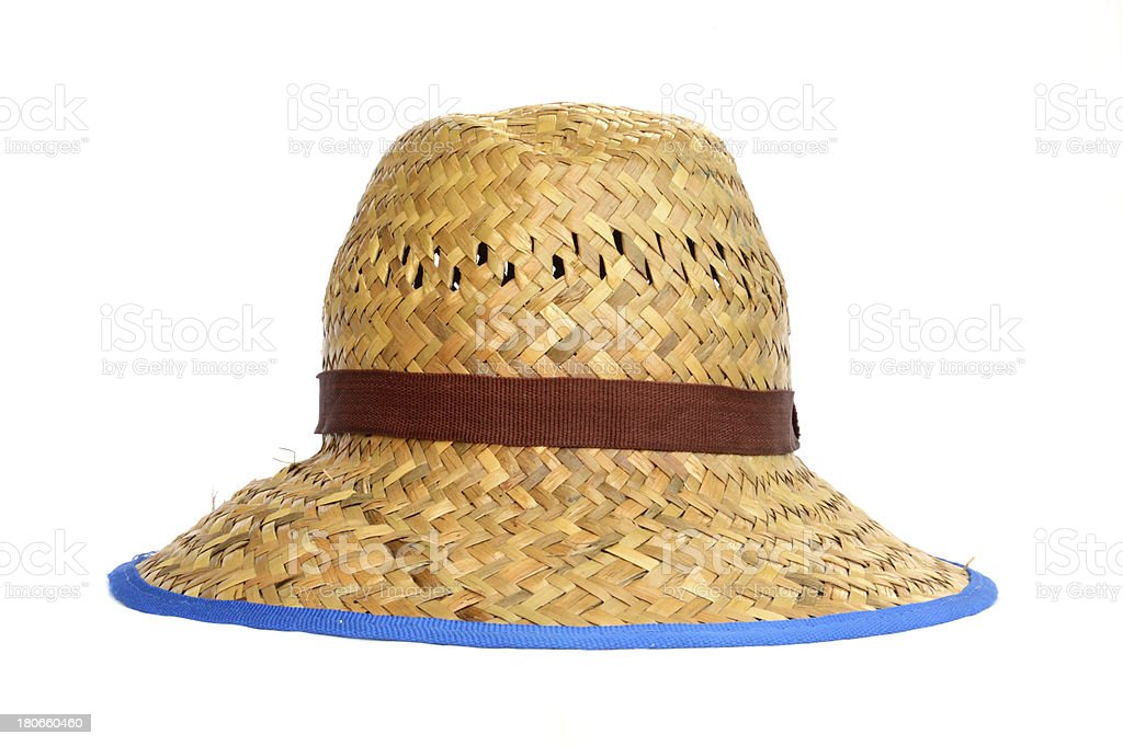 straw hat on white background royalty-free stock photo