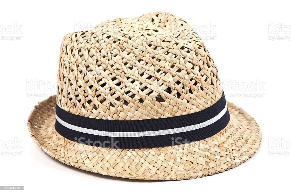 Straw hat with black and white ribbon stock photo