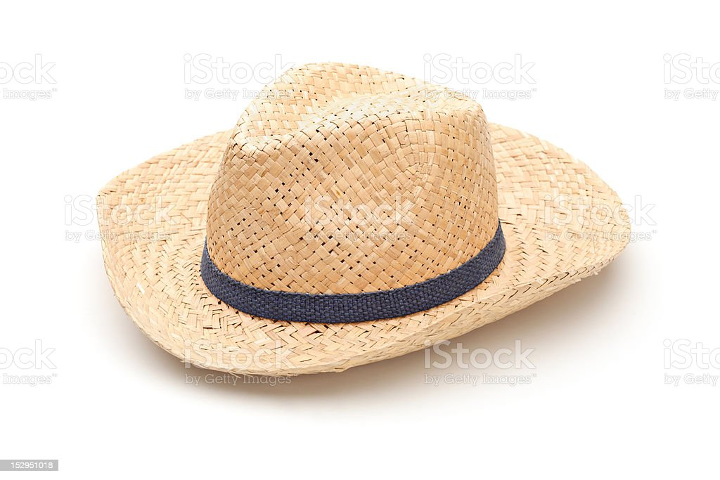 Straw hat with blue strap stock photo