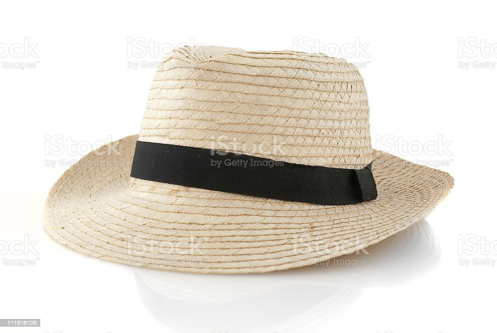 Straw hat withe black ribbon stock photo