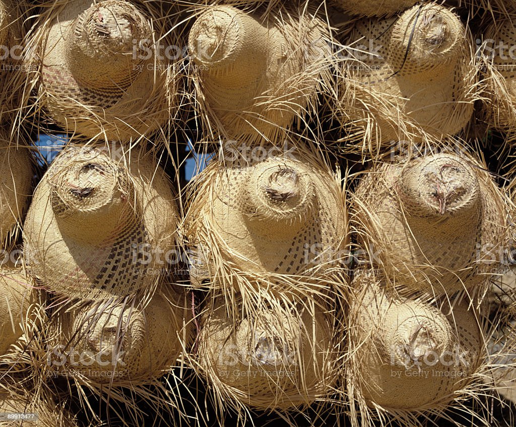Straw hats for sale stock photo